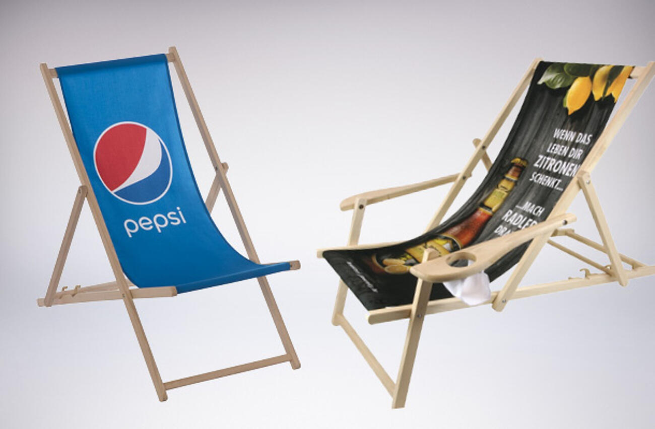 Personalised deckchairs with logo and photo print