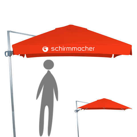 Cantilever parasol with crank opening system